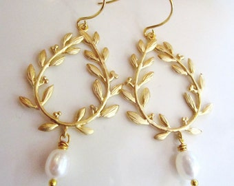 Gold Laurel Wreath Earrings, Pearl Dangle Drop,Olympic Wreath, Bridesmaid Earrings, Gardendiva