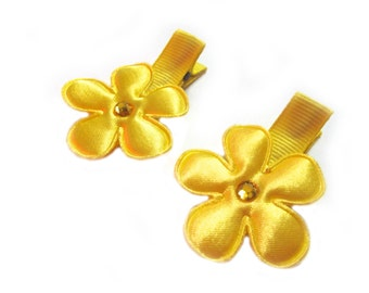Yellow Flower Hair Clips Yellow Hair Clips Yellow Barrettes Baby Girl Hair Clips Baby Hair Clips Baby Clips Baby Barrettes Spring Hair Clips