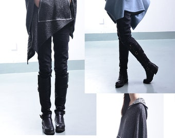 Imagine - cool shaped cotton cape coat / deconstructed cape / asymmetrical poncho / big sleeve hoodie /  (P1796)