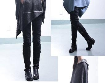Imagine - cool shaped cotton cape coat / deconstructed cape / asymmetrical poncho / big sleeve hoodie /  (P1796)
