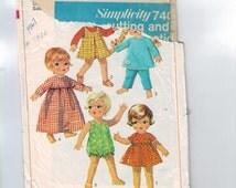 Vintage 1960s Doll Pattern Simplicity 7400 Wardrobe for 11 Inch Toddler Dolls Dress Jumper Top Pants 1967 60s