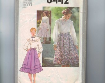 1970s Vintage Sewing Pattern Simplicity 8442 Misses Ruffled Romantic Blouse and Skirt Size 6 8 Bust 30 31 32 1978 70s