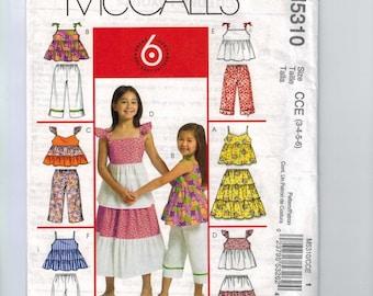 Kids Sewing Pattern McCalls M5310 5310 Girls Sundress Tiered Top Capri Pants Skirt Peasant Size 3 4 5 6 Breast 22 23 24 25 UNCUT  99