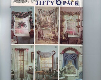 Craft Sewing Pattern Simplicity 7721 Home Decor Curtains Window Treatment Jiffy UNCUT