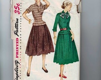 1950s Vintage Sewing Pattern Simplicity 3997 Teen Age Misses Juniors Two Piece Dress with Full Skirt Size 12 Bust 30 50s  99