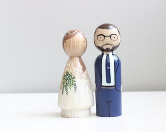 Wedding Cake Toppers Custom Peg Doll Wedding Cake toppers Wooden Dolls Goose Grease