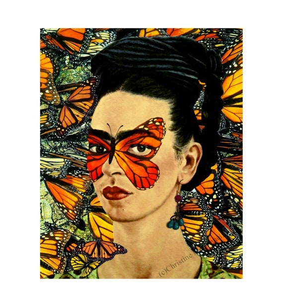 Frida Kahlo Butterfly Poster Print Instant Digital Download Floral Boho Modern Home Decor Orange Black White Yellow Art Monarch Butterflies