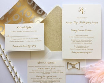 Traditional Monogram Wedding Invitation - Thermography - Sample