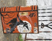 Large Vintage Inspired Paper Mache Halloween Witch's Book of SPELLS Book Box Hand Painted Black WITCH