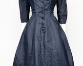 vintage | 50s 60s pinup navy blue taffeta full swing cocktail party frock dress s m