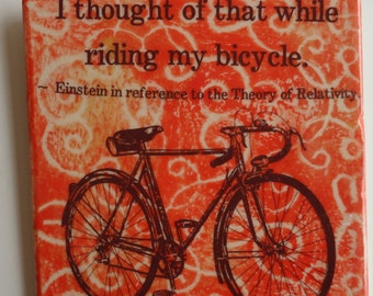"Bicycle enthusiast  6""x6"" ceramic tile. I thought of that while riding my bicycle"
