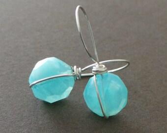 Peruvian Opal Wire Wrapped Earrings Minimalist Modern Simple Understated Earrings