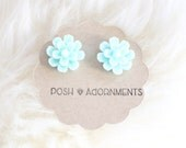 Large Mint Green Vintage Style Floral Stud Earrings