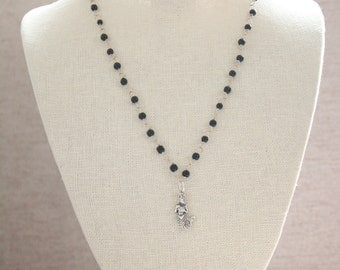 Black Rosary Chain with Silver Mermaid Pendant