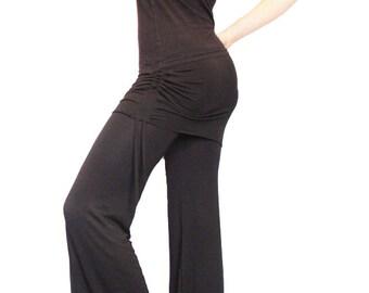 Black Grace Pants - Dance Pants with Adjustable Mini Skirt