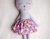 Ready to Ship, Stuffed Fabric Cat, Handmade Stuffed Kitty, Blue Cloth Cat, Cat with Skirt, Keepsake Kitty Cat
