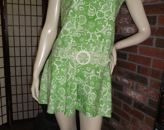 60s Scooter Flared Shorts Sun Dress Skort Go Go Mod Mini w Hip Hugger Belt Lime Green Vintage 1960s