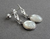 Mother of Pearl Earrings: Sterling silver, bezel set mother of pearl, cathedral posts, Art Deco, round, white, iridescent shell