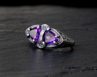 Double Amethyst Filigree Ring: Sterling silver, two stone ring, Edwardian style, trillion, east west ring, february birthstone, sizes 5-10