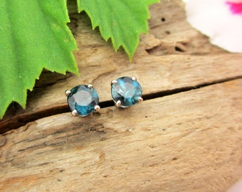 Blue Tourmaline Earrings in 14k White Gold with Genuine Gems, 4.5mm, Pair Three