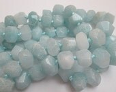 Jade Beads, Ice Blue Dyed Jade, Blue Faceted Nugget, Frozen Chunky Beads, Center Drill Nuggets, Semi Faceted Nuggets, 16x12mm, Qty 9 - gm454