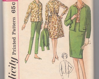 "Vintage Sewing Pattern Simplicity 4548 Ladies' Suit, Dress and Separates 36"" Bust - Free Pattern Grading E-book Included"