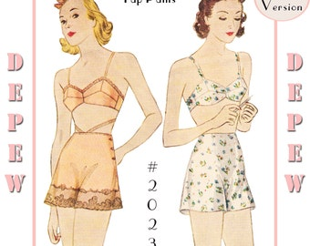 S612 Vintage Sewing Pattern Multi Size Reproduction 1930's Bra and Tap Pants #2023 - PAPER VERSION