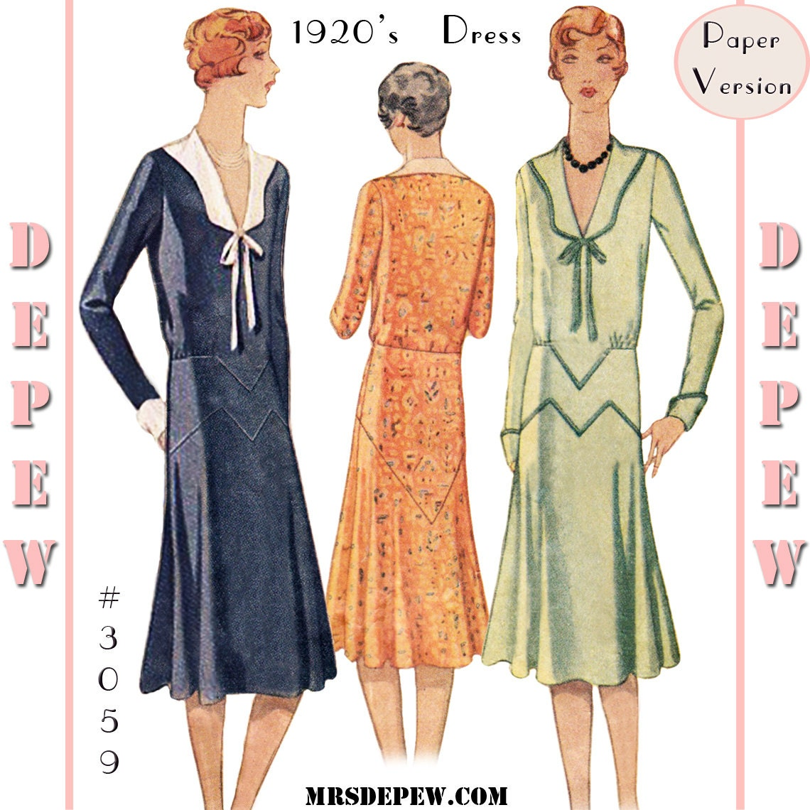 Vintage Sewing Pattern Reproduction Ladies' 1920's