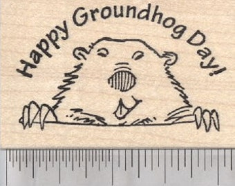 Happy Groundhog Day Rubber Stamp H29422 Wood Mounted