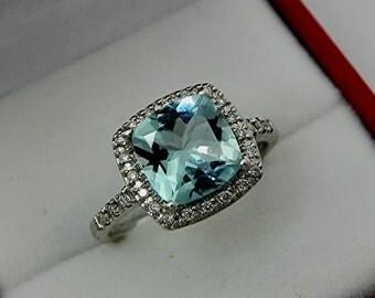 AAAA Santa Maria Blue Aquamarine Cushion cut   8x8mm  1.72 Carats   14K white gold Halo Engagement Ring set with .25 carats of diamonds 0737