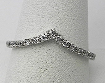 14K white gold Anniversary Engagement ring with 19 diamonds (.25 carats total weight). Chevron stacking ring.