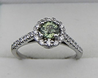 AAA Natural Olive Green Sapphire Round   4.80mm  .90 Carats   in 14K white gold Halo ring with .50 carats of diamonds 1237