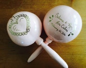 Maracas Blush Pink Sacred Heart personalized wedding design hand painted and custom with your names and wedding date