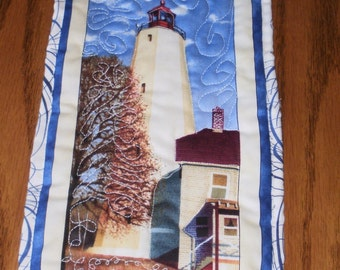 Cream and Tan Lighthouse Mini Quilted Wall Hanging