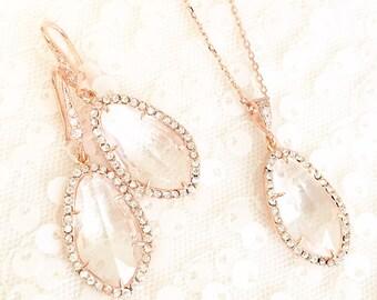 Rose Gold Rhinestone Pendant Necklace, Bridal Earrings, Pink Gold, Wedding Necklace, Rose Gold Bridal Jewelry Set, Wedding Jewelry Set clear
