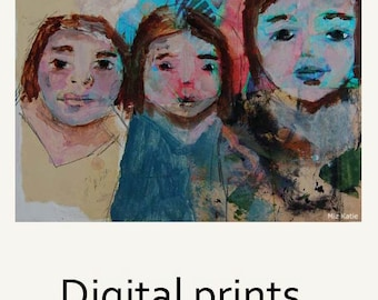 Digital Print. Woman Portrait Painting. Sisters Camping Trip Print. Art Print Gift for Sister