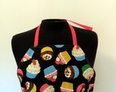 Full Apron - Cupcakes - with pocket and long, pink ties