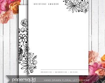 PRINTED Floral Letterhead Hand drawn illustration, black and white - Diy Digital Printable PDF, letter size or A4 - #166