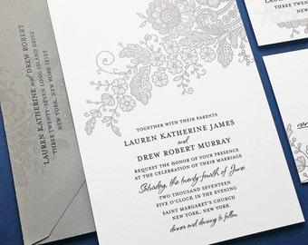 Lauren Gray Lace Wedding Invitation Sample - Custom Wedding Invitation