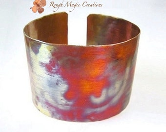 Extra Wide Cuff Hammered Copper Bracelet, Colorful Metal, Gift for Men, Present for Women, Primitive Rustic Minimalist Eco Friendly Jewelry
