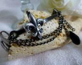 Steampunk Silver Fleur-de-lis  Bracelet - Reclaimed Vintage Watchband Bracelet - Cross Stretchable Bracelet Jewelry