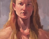 """Sale! Art painting portrait """"Butterscotch"""" 14x18 inch original oil by Oregon artist Sarah Sedwick"""