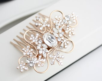 Rose Gold Bridal Hair Comb Vine Leaf Wedding Hair Comb with Swarovski Crystal Bridal Accessory GIANNA