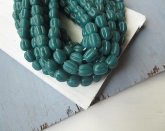 Round  teal melon lampwork glass beads, Opaque semi - matte blue - green   , ribbed corrugated  indonesian  - 9 to 12 mm  / 12 pcs - 6A9-3