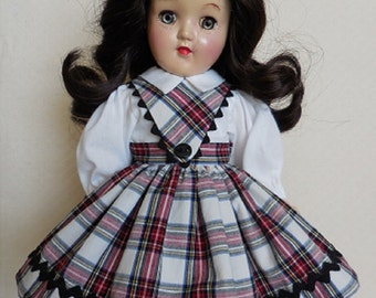 Fits P-90 14 Inch Ideal Toni Doll - School Girl Dress - One of a Kind Re-Creation of Original