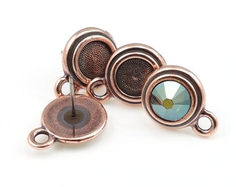 Antique Copper Earring Posts TierraCast Stepped Bezel Ear Findings Stud Earring Findings for 7mm Rhinestones Cabochons Flatback Personalized