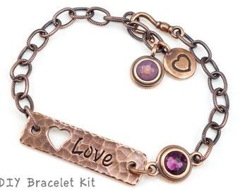 Antique Copper Bracelet Kit DIY Jewelry Do It Yourself Copper Jewelry Project Valentine's Gift Heart Love Chain Bracelet Purple Jewelry