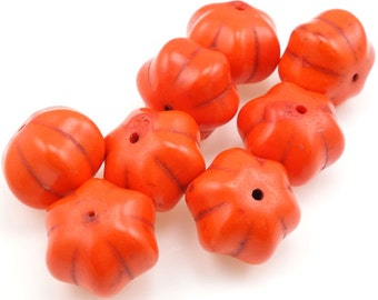 8 Orange Pumpkin Beads 18mm x 13mm Dyed Ceramic Beads - Halloween Autumn Fall Beads Harvest Thanksgiving Beads Pumpkin Shape