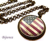USA flag necklace - Country USA necklace - World country USA necklace n767