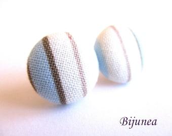 Stripe earrings - Blue stripe stud earrings - white stripes posts - Baby blue stripes post earrings sf1316